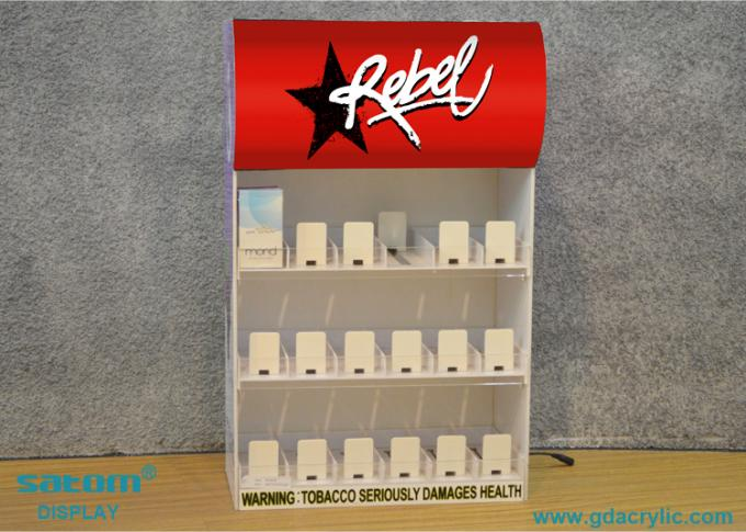 Cigarette Display Stand With Gliding Pusher And Three Sides Of Advertising Images