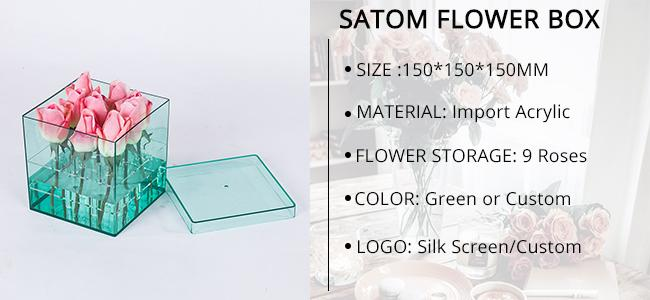 Waterproof Square Acrylic flower Arrangement box for 9roses Packaging Luxury preserved Rose Shipping Boxes