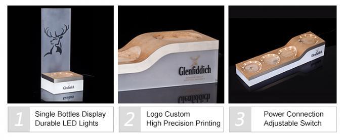 Glenfiddich Whisky Plint Metal Bottle Glorifier Wood Base