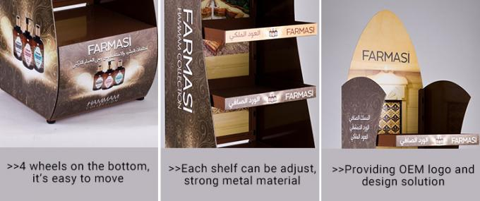 Strong metal material 4 layers shelf custom logo product display stand with 4 wheels to move