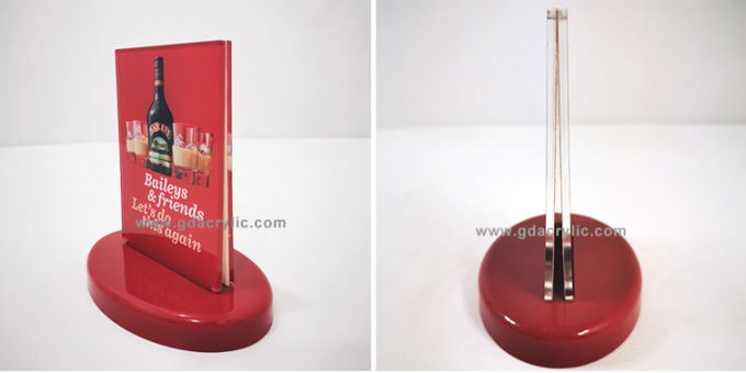 Delicate Red Counter top Oval Base Acrylic display Menu Signs