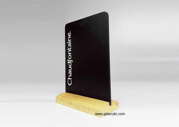 Restaurant Bar Acrylic Chalkboard Writing Display Stand Natural Wood Menu Holders