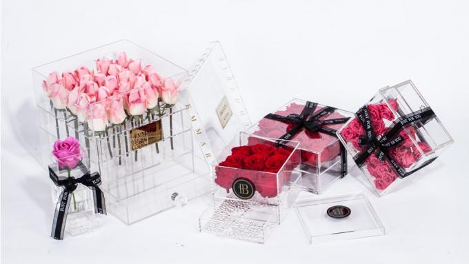Luxurious 25 Preserved Roses Storage Package Acrylic Flower Box With 2 drawers