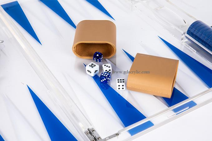 Blue White Triangle color Luxury Transparent Acrylic Lucite Backgammon Sets