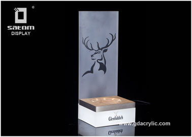 Good Quality Custom Neon Signs & Glenfiddich Whisky Plint Metal Bottle Glorifier Wood Base For Single Or Multiple on sale