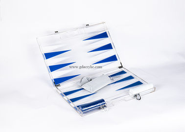 Good Quality Custom Neon Signs & Blue White Triangle color Luxury Transparent Acrylic Lucite Backgammon Sets on sale