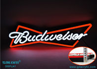 China Budweiser Non-glass Custom Neon Signs , Outdoor Hanging Type Waterproof Sign factory