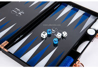 With Logo printing Blue Red White Triangle color Luxury Black Acrylic Lucite Backgammon Sets
