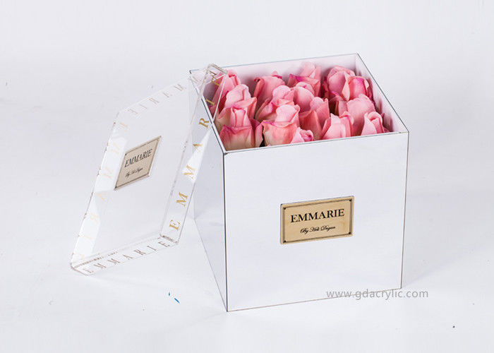 Silver Square Preserved OEM 16 Roses Display Mirror Flower Box With Clear lid