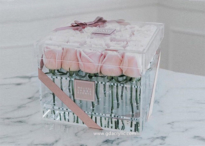 Acrylic Clear Transparent Lucite Flower Box Rose Box For  Fresh Roses Display