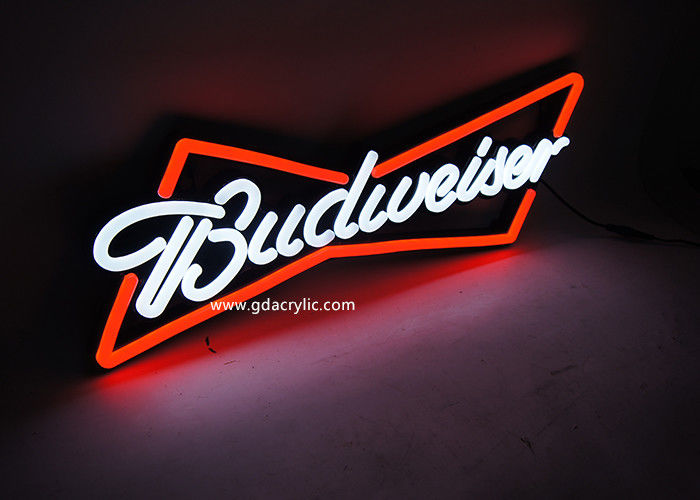Ultrathin Soft Strong Budweiser Illuminated Neon Signs, Out-door / Indoor Neon Light