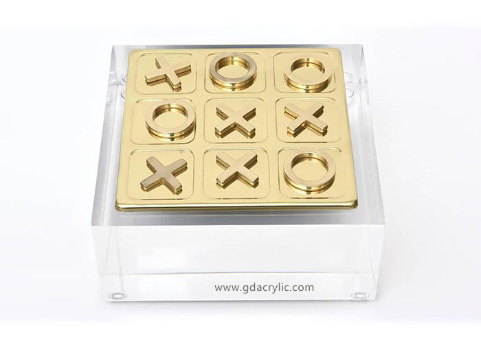 Transparent Lucite Stand Gold Metal  Tic Tac Toe Game