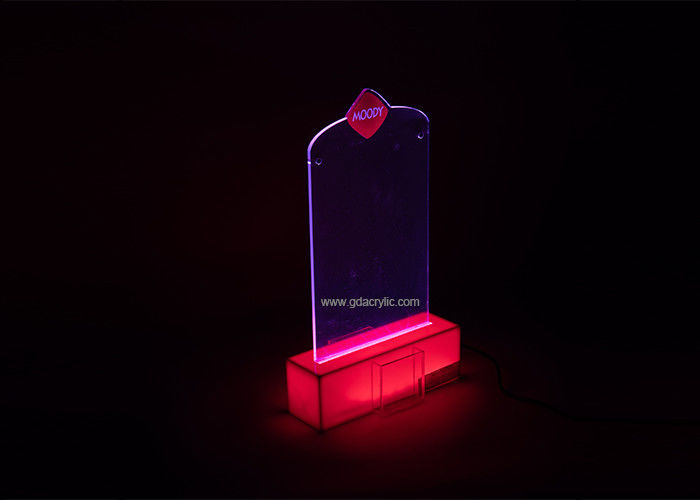 LED Lighting Desk Top Customizd Shape Red printing Menu Advertising Display Acrylic Stand