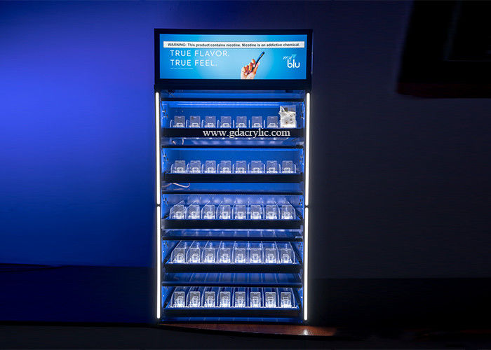 Customized Illuminated Blu 5 Layers Metal Cigarette Display Cabinet With Light Box