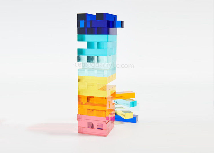 Factory Wholesale Customized Crystal Acrylic Neon Jenga Tumble Tower Game Set