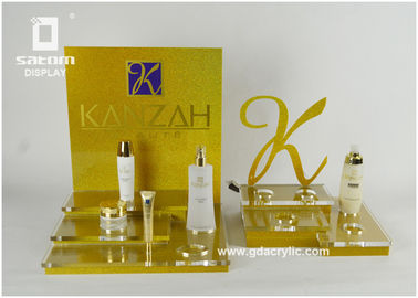 Acrylic Cosmetic Display Retail Counter Display Two Sets Refined Logo Cut
