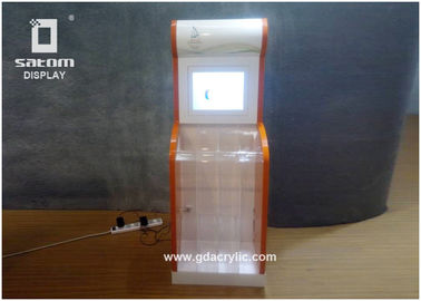 Lcd Video Player Charity Advertising Acrylic Clear Donation Box Floor Standing