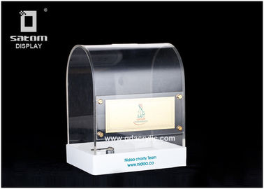 Transparent  Plexiglass Perspex Acrylic Lockable Donation Box For Money Storage