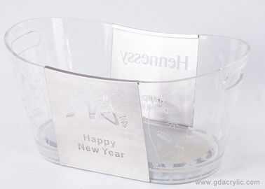 Transparent Surface Printed Exquisite Pattern Acrylic Oval Ice Bucket with Handle