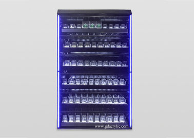 Illuminated Led Lighting Metal Large Cigarette Display Rack With Advertising Pictures And Cabinet