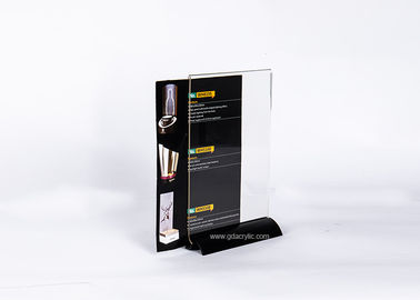 China Transparent Clear Acrylic Panels Top Black Metal Base Menu Display factory