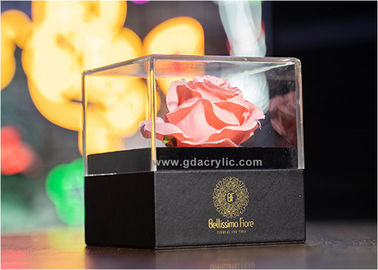 Hot New Black Luxury PU Leather Bottom Clear Acrylic Top Flower Display Gift Boxes