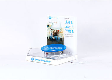 Counter top Customized Design with Printing White Acrylic Photo Printer Display Stand