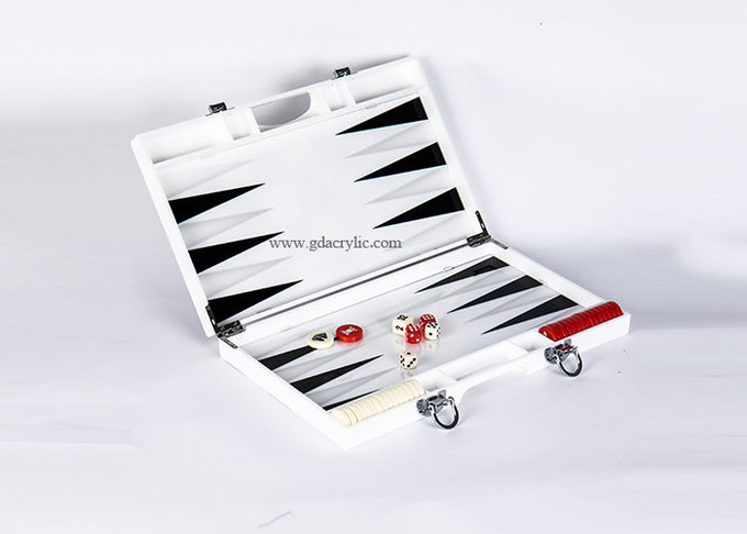 Black GrayTriangle Color Luxury White Acrylic Lucite Backgammon Sets